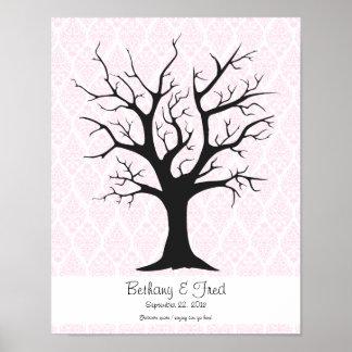 "Fingerprint Tree C with Damask Pink1 - 11""x14"" Print"
