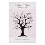 """Fingerprint Tree C with Damask Pink1 - 40""""x60"""" Posters"""