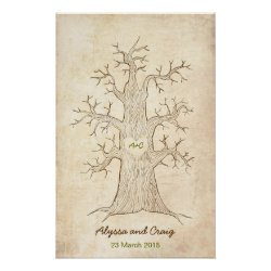 Fingerprint Tree Wedding Green (Vintage)