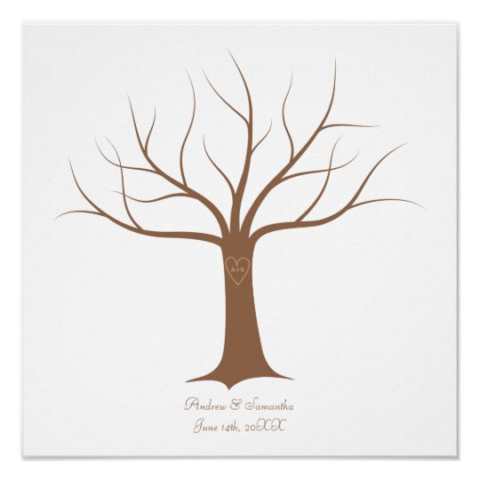 Fingerprint Tree Wedding Guestbook | Zazzle.com