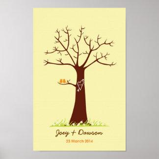 Fingerprint Tree Wedding Guestbook (Cream) Poster