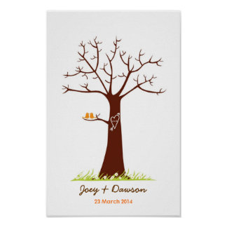 Fingerprint Tree Wedding Guestbook (White) Posters