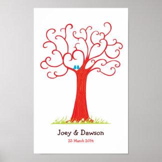 Fingerprint Tree Wedding Heartastic (Red) Poster