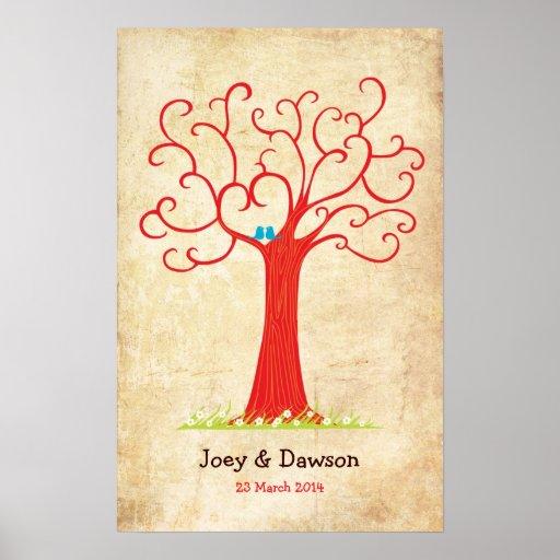 Fingerprint Tree Wedding Heartastic (Red Vintage) Poster