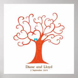 Fingerprint Tree Wedding (Heartastic) Square print