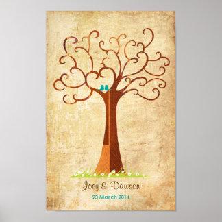 Fingerprint Tree Wedding - Heartastic (Vintage) Poster
