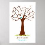 Fingerprint Tree Wedding - Heartastic (White) Poster