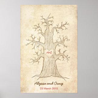 Fingerprint Tree Wedding Pink (Vintage) Poster
