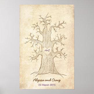 Fingerprint Tree Wedding Purple (Vintage) Poster
