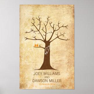 Fingerprint Tree Wedding (Rustic Vintage) Poster