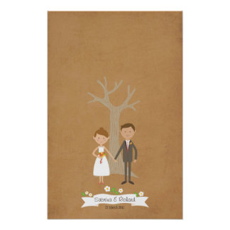 Fingerprint Tree with Custom Couple Portrait Poster