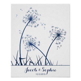 fingerprint wedding guest book dandelion