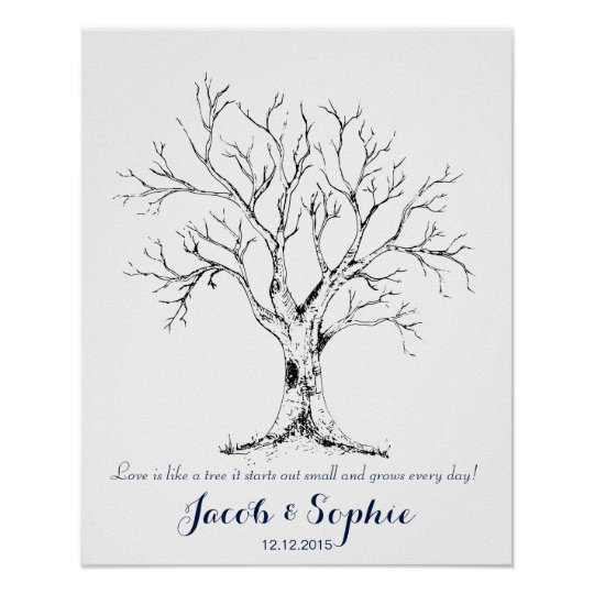 fingerprint wedding guest book tree hand drawn | Zazzle.com
