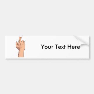 Fingers Crossed Hand Signs Gestures Bumper Sticker
