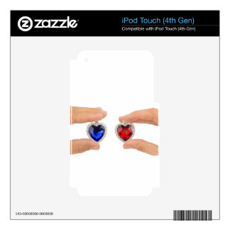 Fingers holding blue and red jewelry hearts iPod touch 4G skin