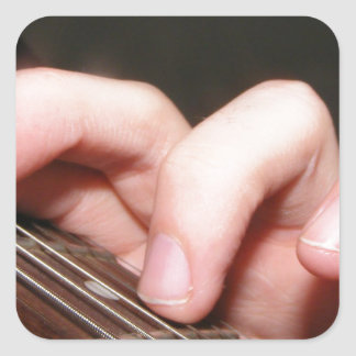 Fingers on Fretboard Square Stickers
