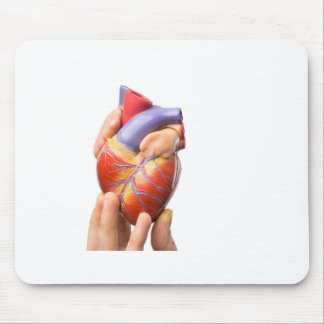 Fingers showing model human heart on white.jpg mouse pad