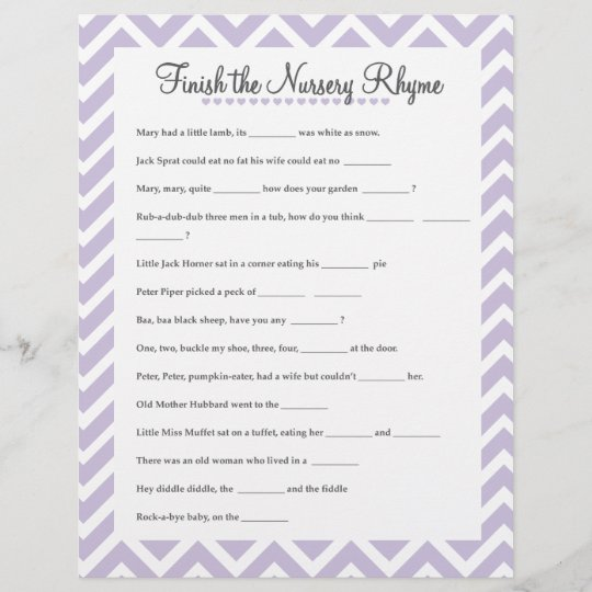 Finish The Nursery Rhyme Baby Shower Lavender