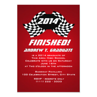 Finished 2014 Racing Flags Graduation 5x7 Paper Invitation Card