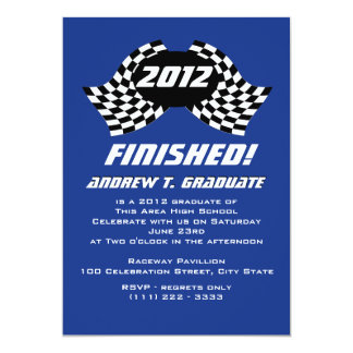 Finished Graduation Flags 5x7 Paper Invitation Card