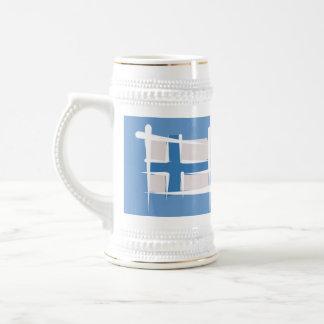 Finland Brush Flag Beer Stein