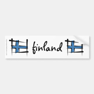 Finland Brush Flag Bumper Sticker