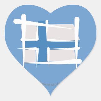 Finland Brush Flag Heart Sticker