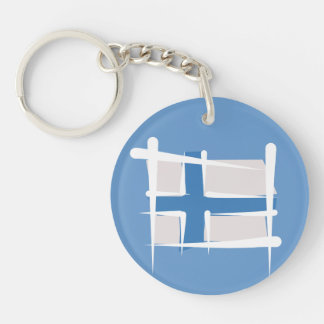Finland Brush Flag Keychain