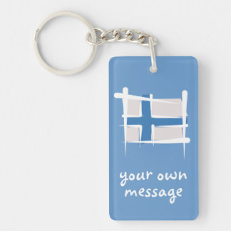 Finland Brush Flag Keychain