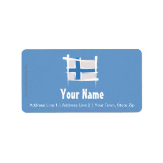 Finland Brush Flag Label