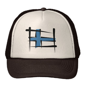 Finland Brush Flag Trucker Hat