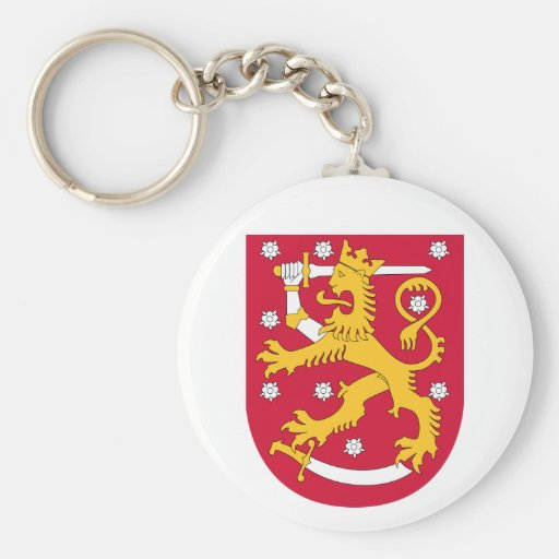 Finland Coat of arms FI Basic Round Button Keychain