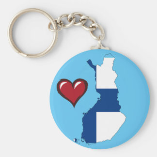 Finland country flag red heart keychain