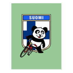 Postcard with Finnish Cycling Panda design