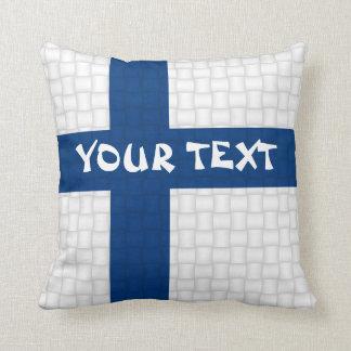 Finland Finnish flag: ADD TEXT Pillows
