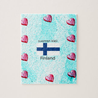 Finland Flag And Finnish Language Design Jigsaw Puzzle