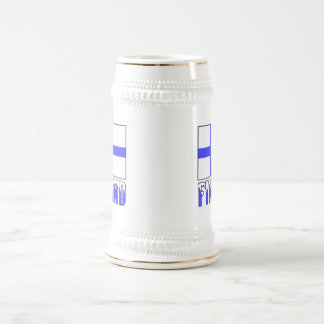 Finland Flag and Snow Capped Name Beer Stein