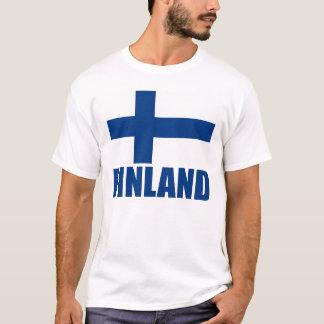 Finland Flag Blue Text T-Shirt