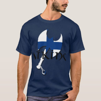Finland flag Finnish Suomi Viking Axe T-Shirt
