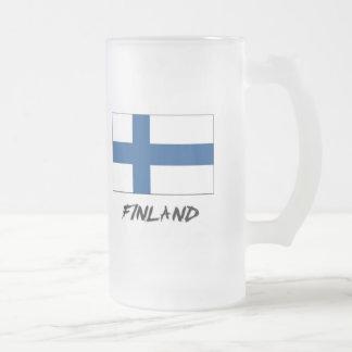 Finland Flag Frosted Glass Beer Mug
