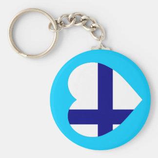 Finland Flag Heart Keychain