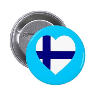 Finland Flag Heart Pinback Button