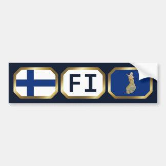 Finland Flag Map Code Bumper Sticker Car Bumper Sticker