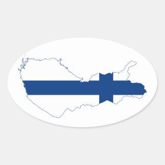 Finland Flag map FI Oval Sticker