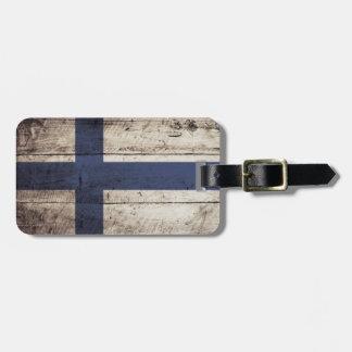 Finland Flag on Old Wood Grain Luggage Tag