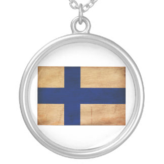 Finland Flag Round Pendant Necklace