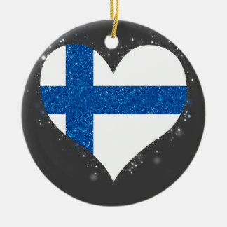 Finland Flag Shining Unique Double-Sided Ceramic Round Christmas Ornament