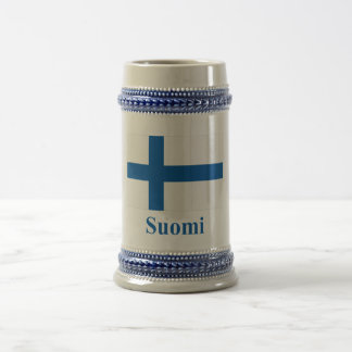 Finland Flag with Name in Finnish Beer Stein