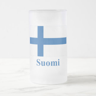 Finland Flag with Name in Finnish Frosted Glass Beer Mug