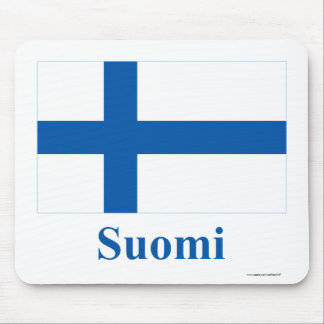Finland Flag with Name in Finnish Mouse Pad